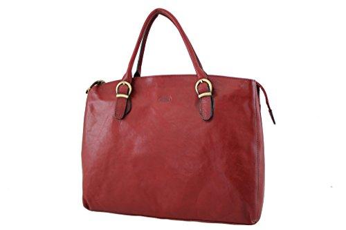 Borsa shopping, Katana, in pelle di vacchetta, colletto 82534 K rosso