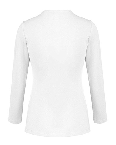 Donna Blazer Suit Tinta Unita Tailleur Giacche Cappotti Top Outwear Slim Bianco