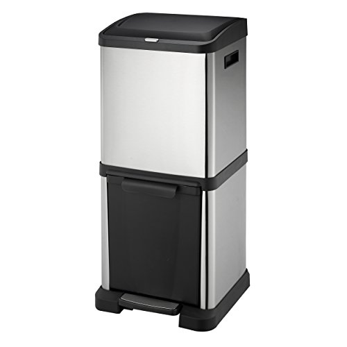 [HARIMA] Cubo Basura Reciclaje | Contenedor Reciclaje en Acero Inoxidable | 2 Unidades Basura Extraible | Comida, Papel, Vidrio y Plastica | 34 Litros (16L + 18L)