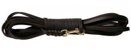 Fettlederleine 10m schwarz mit Messing Haken, Schleppleine aus Leder für Hunde (10m x 12mm)