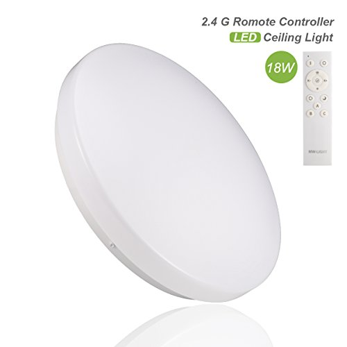 B-right Plafon Led, 18W, con Luz Regulable & Cambiar la Temperatura de Color, con Control Remoto, AC85-265V, 1300LM, Alta Luminancia, Lámpara de Techo LED para Sala de Estar, Dormitorio, Comedor, Baño,etc (18W)