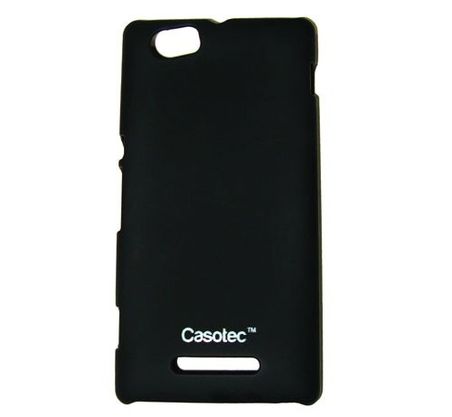 Casotec Ultra Slim Hard Shell Back Case Cover w/ Screen Protector for Sony Xperia M - Black  available at amazon for Rs.165