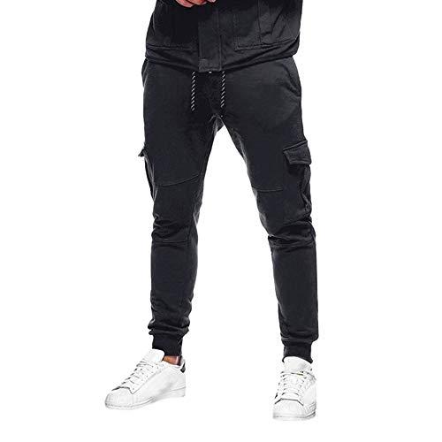 FRAUIT Männer Herren Hose Einfarbig Slacks Lässige elastische Sport Baggy Pockets Hose Sweatpants Hose, Yoga…