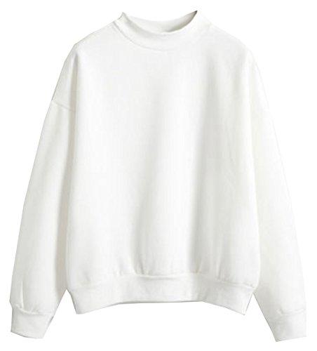 U-Shot Sweat-shirt pour femme à manches longues uni Blanc