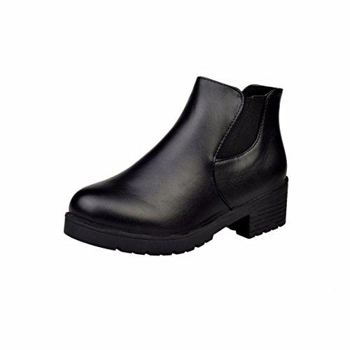 Stivali Donna , feiXIANG® Donna in pelle bassa Flat Block tacco Chelsea stivaletti scarpe---pu+gomma (38, Nero)