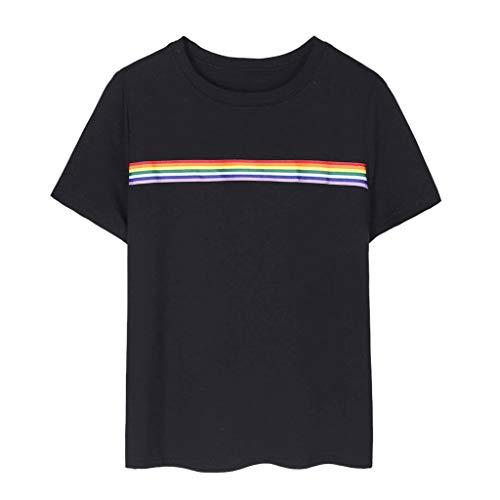 Damen Freizeit Einfach und Wild Kurzärmliges Oberteil Oben, JMETRIC Regenbogen Streifen Drucken Kurzarm T-Shirt Tops(Schwarz,M)