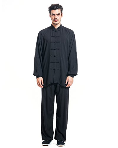 ICNBUYS Men's Tai Chi Uniform Cotton Black Test