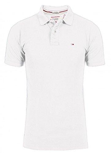 Hilfiger Denim -  Polo  - Basic - Con bottoni  - Maniche corte  - Uomo bianco Large