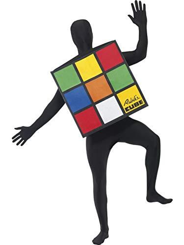Luxuspiraten - Herren Männer 80er Jahre Rubiks Würfel Cube Kostüm im hautengen Einteiler Overall Jumpsuit, perfekt für Karneval, Fasching und Fastnacht, One Size, - Rubiks Cube Party Kostüm