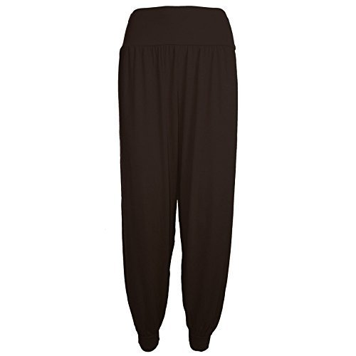 Pure Fashion - Leggings Pantalons Femmes Harem Baggy Ali Baba Longue Couleur Uni Marrone - Harem Larga Vestibilità Ampia Baggy