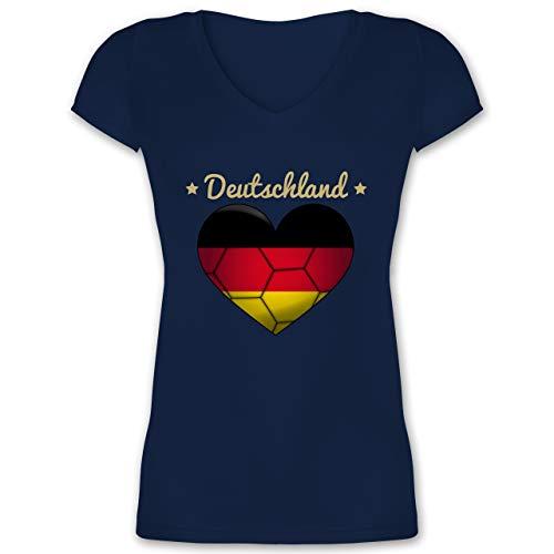 Handball WM 2019 - Handballherz Deutschland - S - Dunkelblau - XO1525 - Damen T-Shirt mit V-Ausschnitt