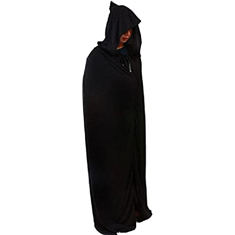 Diseño único negro Halloween Costume Theater Prop muerte sudadera con capucha capa Diablo Capa larga