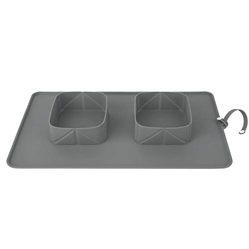 Pawaboo Pet Travel Food Bowls, Collapsible Roll Up Silicone Mat Dog Feeder Bowl with Secure Button, Portable Easy Storage Pet Feeding Accessories for Travel Camping Outdoors, Medium Size, Gray -