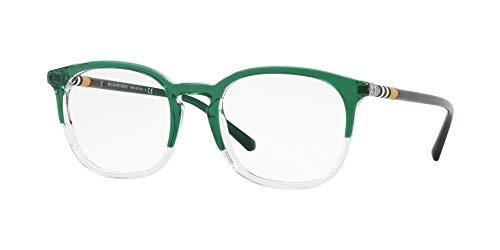 BURBERRY Unisex-Erwachsene 0BE 2272 3718 53 Sonnenbrille, Grün (Top Green On Rose Crystal),