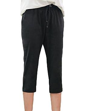 YiLianDa Mujeres Elástico Cintura para Playa Casual Primavera Verano Pantalones