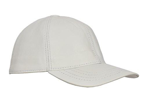 House of Leather Echte Weiche Leder Plain Baseball Kappe Eine Grösse Passt Allen Hut Weiß