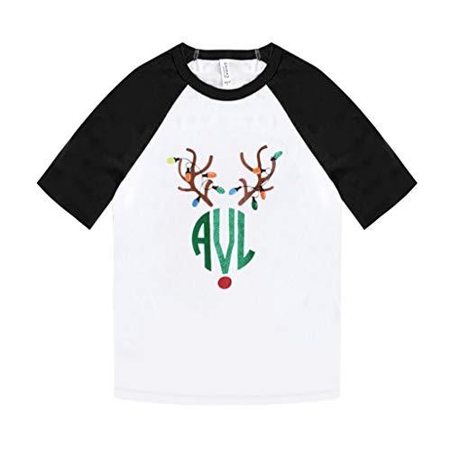 yazidan Damen Weihnachten T-Shirt Frauen Rundhal Kurzarmshirt Weihnachtsbaum Schneemann Rentier Drucke Basic Fun Christmas Xmas Tops Christmas Tee Shirt Blusen Oberteile