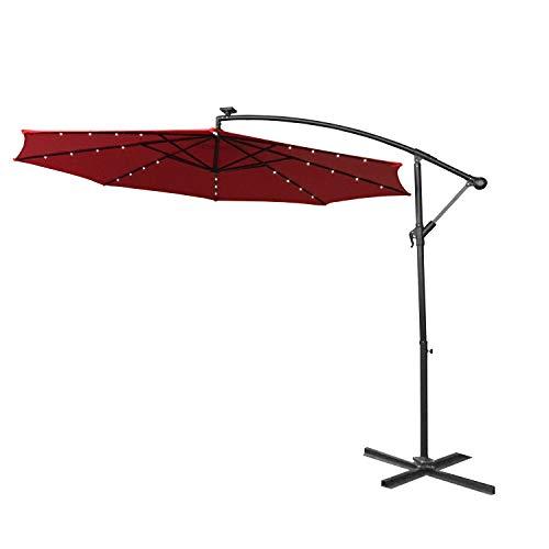 AUFUN Alu Sonnenschirme 300cm mit Solarbetriebene Warmweiß LED UV Schutz 40+ - Rot balkonschirm gartenschirm höhenverstellbarer (Rot mit solar LED)