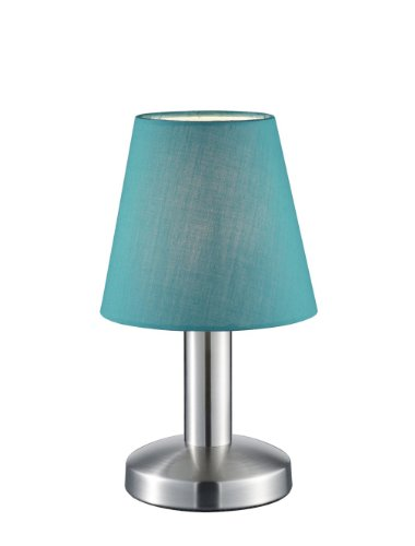 Trio Leuchten Tischleuchte in Nickel matt, Stoffschirm, blau 599600119