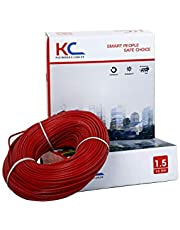 DMT KC-Cab PVC Insulated 1.5 Sq/mm Single Core Flexible Copper Wire for Domestic/Industrial Use, 90 m Coil (Red)