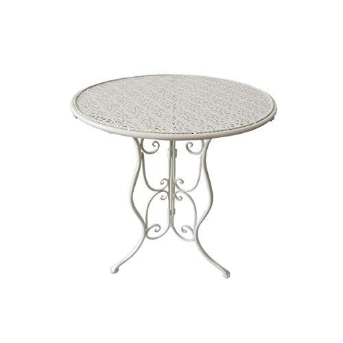 Unbekannt VARILANDO Romantische 4-teilige Sitzgruppe aus Metall in altweiß Tischgruppe Gartengruppe Bistro-Set