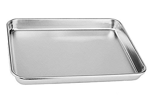 Tspkey Stainless Steel Cake Bake Pan ,Compact Toaster Oven Pan Tray Ovenware Professional, Deep Edge, Superior Mirror Finish, Dishwasher Safe (31X24X2.5cm)