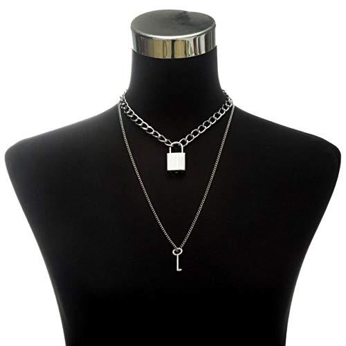 BSDN01 Halskette Kette Halskette Damen Herren Dicke Kette mit Schloss Anhänger Halskette Punk Modeschmuck Anhänger Halskette, Silber