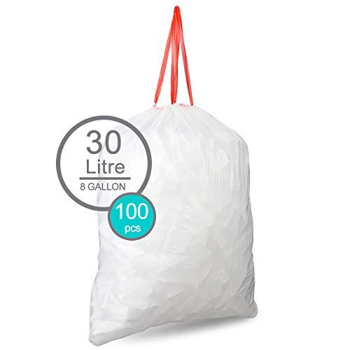 Sacchetti coulisse dell'immondizia Spazzatura 100 pezzi acchi per la spazzatura con fascetta di fissaggio 30 litri antracite Bianco 8 Gallon