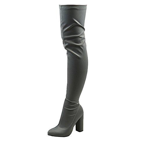 ESSEX GLAM Damen Grau Lycra Schenkelhoch Stiefel Dehnbar Runde Blockabsatz Stiefel EU ()