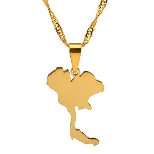 NSXLSCL Halsketten Für Frauen,Das Königreich Thailand Karte Anhänger Halsketten Für Frauen Mädchen Farbe Gold Schmuck Thai Giftsfor Besondere Momente Mode