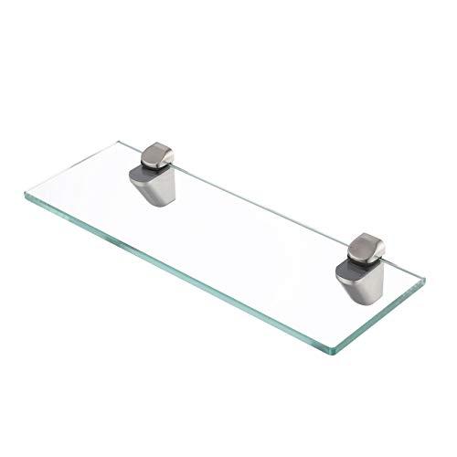 KES Badablage Glasregal Eckablage Glasbodenträger aus Edelstahl und Glas, Klar und Silber, BGS3202S35-2