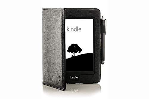 Forefront Cases Étui en Cuir à Fermeture magnétique avec Fonction de Mise en Veille et réveil et Stylet pour Amazon Kindle Paperwhite Noir