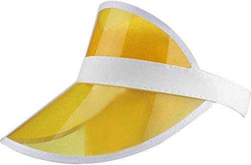Ababalaya Unisex Damen und Herren aus SPF 50+ UV PVC Schutz Breite Rand Strand Sonnenhut (Gelb)