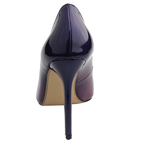 Calaier Femme Caelse Pointures Européennes 34-46 Aiguille 12CM Glisser Sur Escarpins Chaussures Gradient violet B