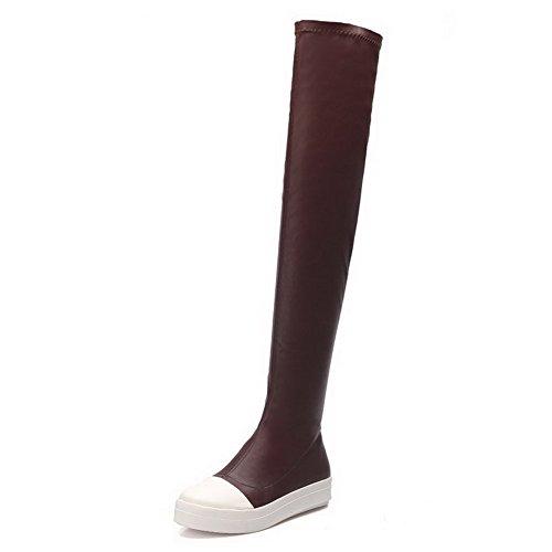 AllhqFashion Damen Oberschenkel Hohe Niedriger Absatz Rein Blend-Materialien Stiefel, Grau, 40