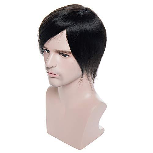 TESS Toupet für Männer Echthaar Extensions Toupee Herren Pony Haarteil Haarverlängerung Topper Hair Schwarz Perücken -