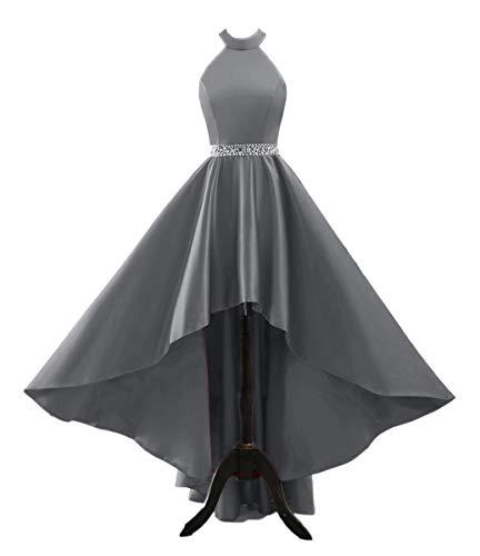 yinyyinhs Damen Halfter hoch niedrig Abendgesellschaft Kleid Lange Satin Homecoming Prom Formale Kleider mit Taschen Größe 34 Grau-Grau Jovani Homecoming