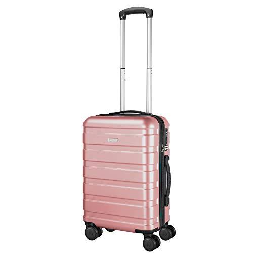 Amasava valigie rigide ABS+PC hard shell super leggero da viaggio Carry On trolley 8 ruote valigia,55cm,40L, Oro rosa
