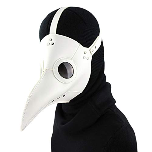 Beängstigend Einfache Kostüm - Unisex Leder Vogel Cosplay Maske, Halloween Vogel Mund Kostüm Maske Einstellbare Steampunk Requisiten Beängstigend Pest Arzt Maske (Weiß)