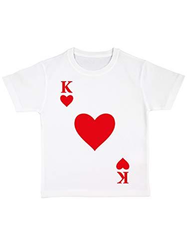clothinx Kinder T-Shirt Bio Karneval & Fasching Spielkarte Herz König Kostüm Weiß Größe 128 - Herz Bio-kinder-t-shirt