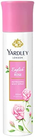 Yardley English Rose Body Spray for women, enchanting floral fragrance, with Rose, Tea Accord and Bergamot, 10