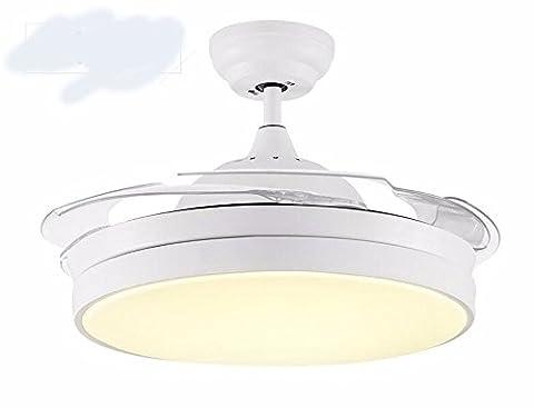 LighSCH Das Restaurant Stealth Deckenventilatoren mit Beleuchtung Retro Kronleuchter mit Ventilator Home Decor weiß Dimmer Wand Steuerung Durchmesser (Fan-wand Steuerung)