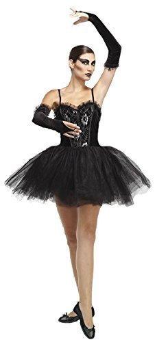 Damen schwarz schwarz Sexy Halloween Kostüm Outfit Ballerina mit Tutu - Schwarz, (Schwarze Outfit Ballerina)