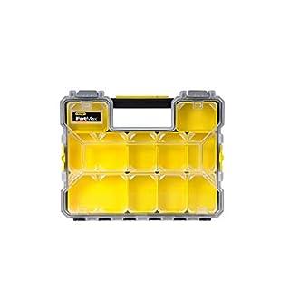 Stanley FatMax Werkzeug-Profi-Organizer (45 x 7 x 36 cm, flache Fächer, mit Klappdeckel und Kunststoffschnallen, 10 herausnehmbare Boxen) 1-97-519