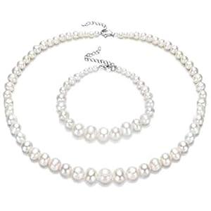 Exklusives Set von Licia Jewellery: Perlenkette und Armband mit Perlen unterschiedlicher Größe (kleiner am Verschluss, größer in der Mitte, 4-9mm). Verschluss Silber 925, mit Geschenk-Etui