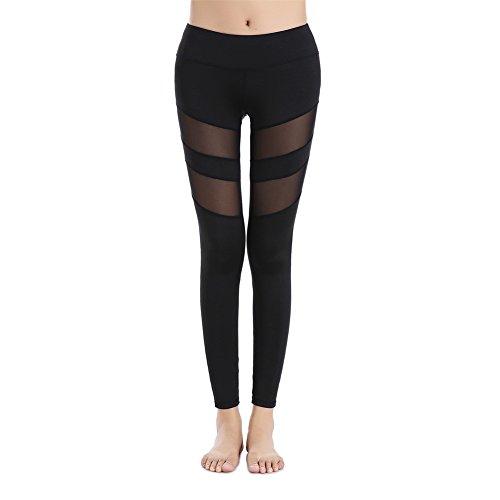 GOMNEAR Mesh Yoga Hosen Leggings High Taille Sport Running Gym Fitness Elastische Jogger Stretch Hose mit Bund Tasche (black, XL) (Stretch-reiten-jean)