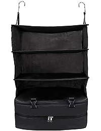 Bolsa de almacenamiento portátil para colgar equipaje de viaje, 3 capas, ahorro de espacio, multifuncional, caja de cosméticos, organizador plegable para artículos de tocador, negro