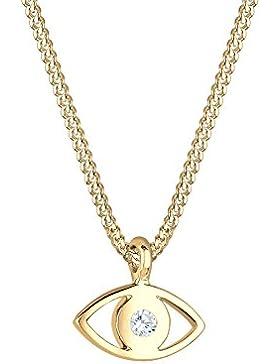 Elli Damen-Kette mit Anhänger Evil Eye 925 Silber Swarovski Kristall blau Brillantschliff