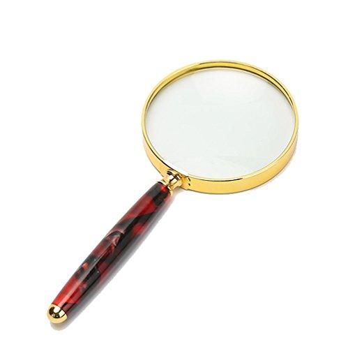 HRRH Handlupe-Taschen-Vergrößerungsglas-Große 80 Millimeter-10X Laute Objektiv-Starke Metallnacken-und Rand-Qualitäts-Realglas-Präzisions-Linse, Red