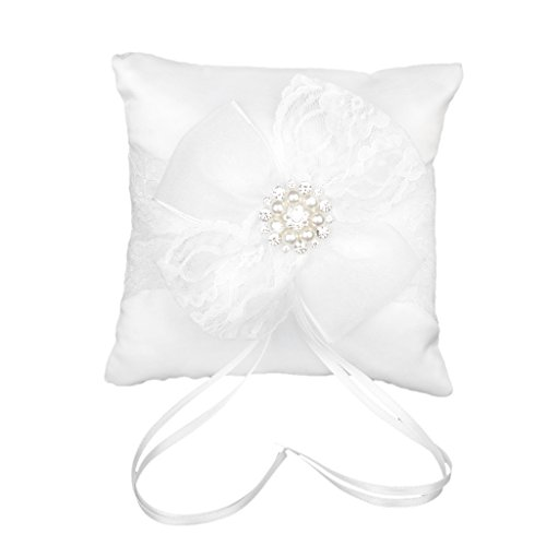 Bowknot Rhinestone Decorated Wedding Ring Cushion Pillow 15 x 15cm White
